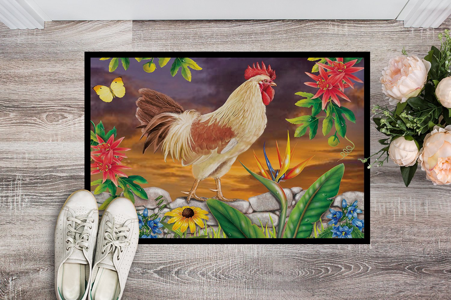 White Rooster Indoor or Outdoor Mat 24x36 PRS4025JMAT by Caroline's Treasures