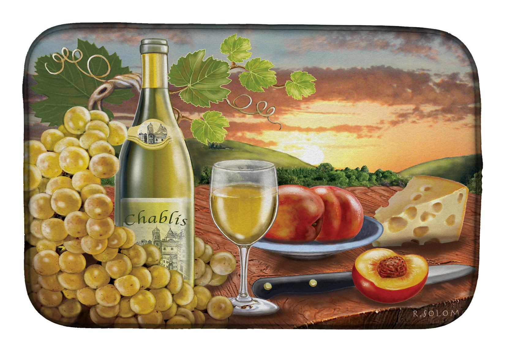 Chablis, Peach, Wine and Cheese Dish Drying Mat PRS4028DDM by Caroline's Treasures