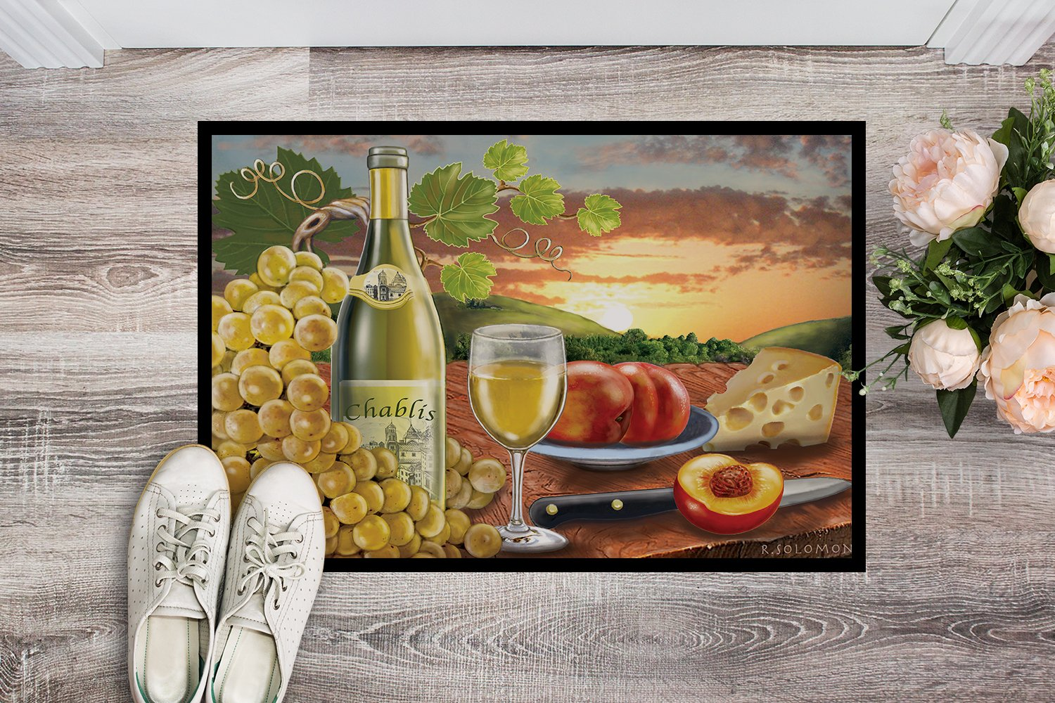 Chablis, Peach, Wine and Cheese Indoor or Outdoor Mat 24x36 PRS4028JMAT by Caroline's Treasures