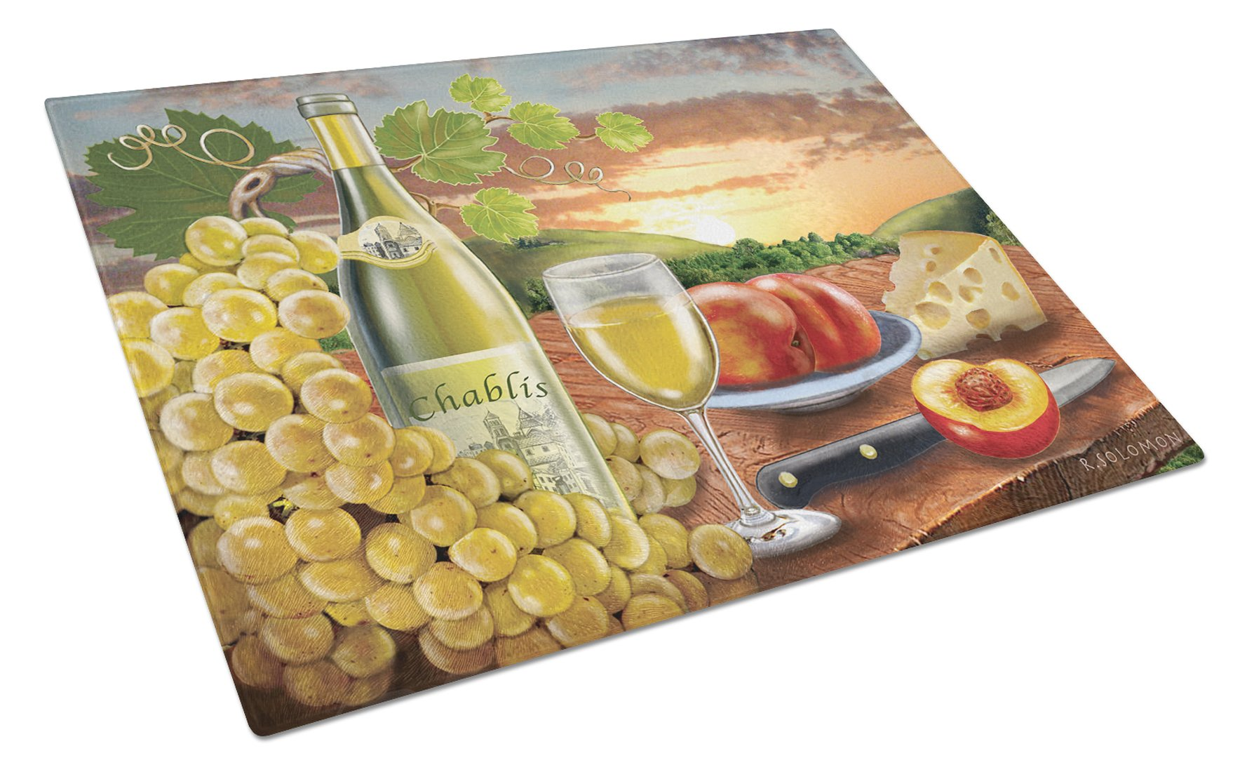 Chablis, Peach, Wine and Cheese Glass Cutting Board Large PRS4028LCB by Caroline's Treasures