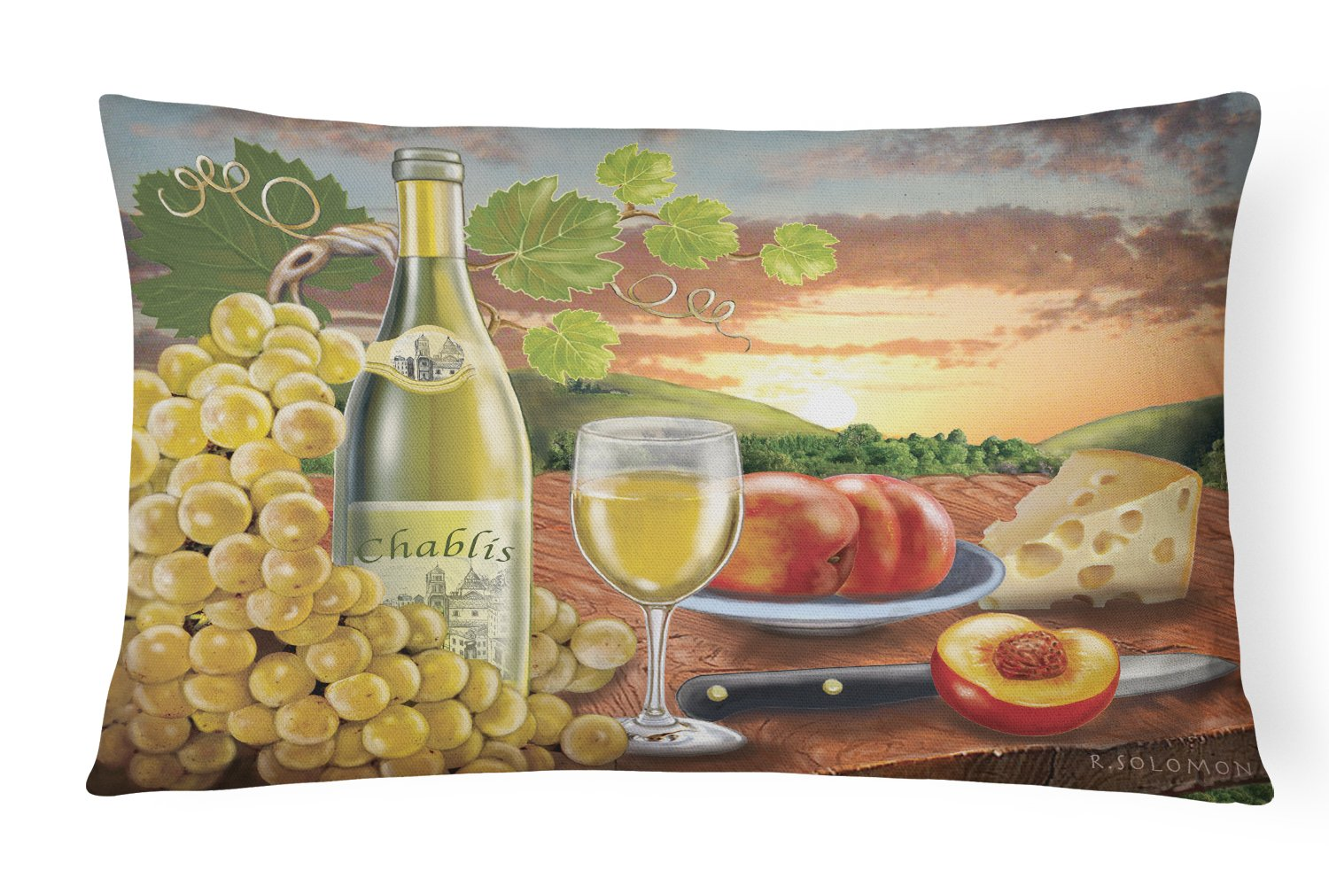Chablis, Peach, Wine and Cheese Canvas Fabric Decorative Pillow PRS4028PW1216 by Caroline's Treasures