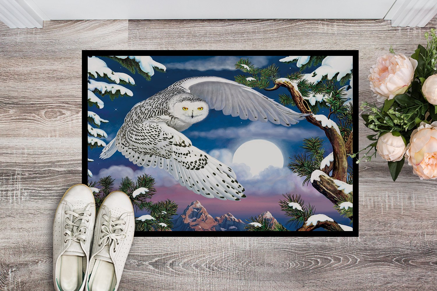 Snowy Owl Indoor or Outdoor Mat 24x36 PRS4030JMAT by Caroline's Treasures