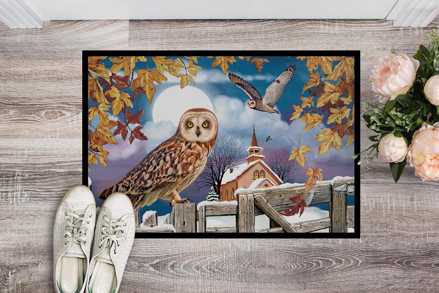 Short-Eared Owl In The Churchyard Indoor or Outdoor Mat 24x36 PRS4032JMAT by Caroline's Treasures