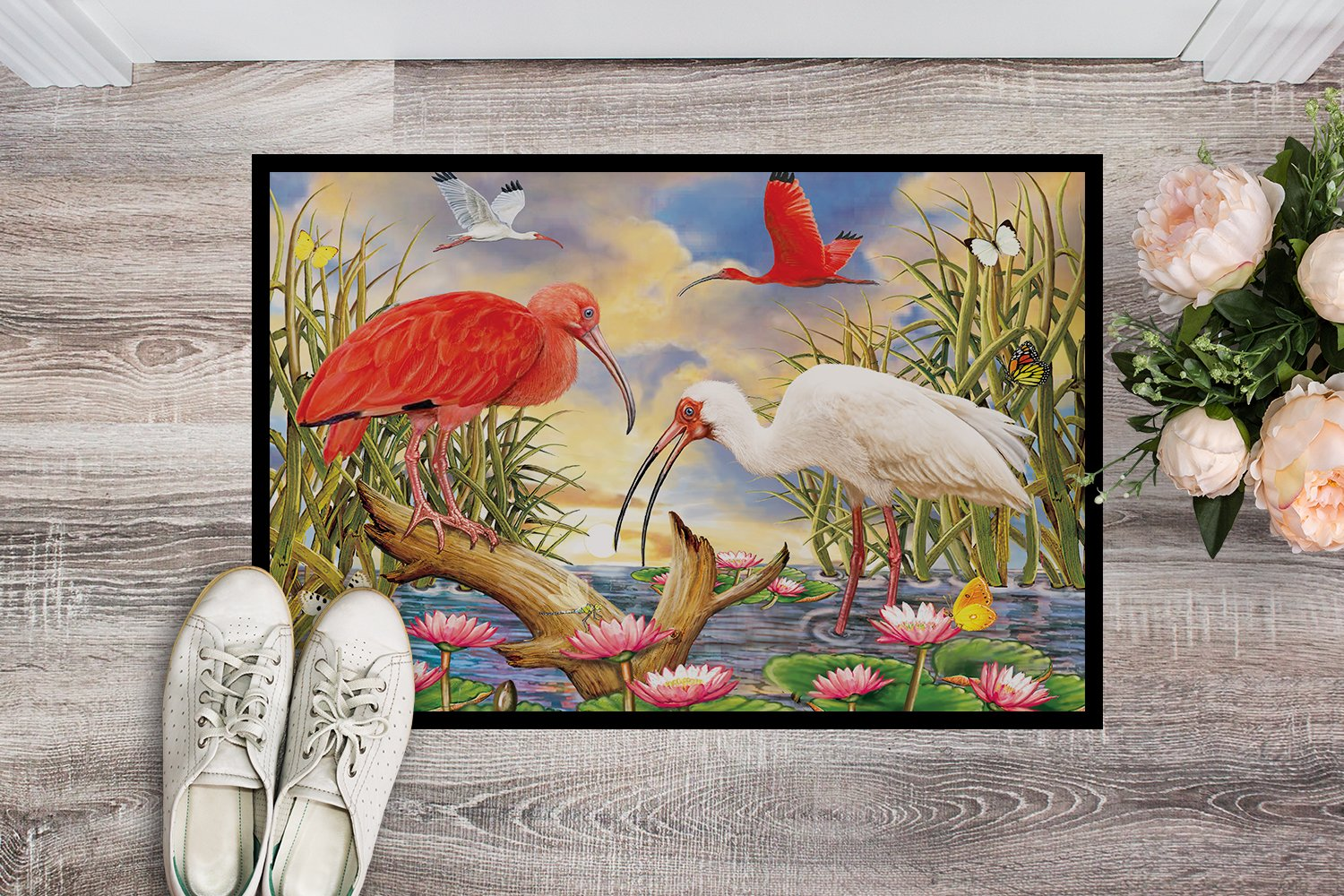 Scarlet And White Ibis Indoor or Outdoor Mat 24x36 PRS4033JMAT by Caroline's Treasures