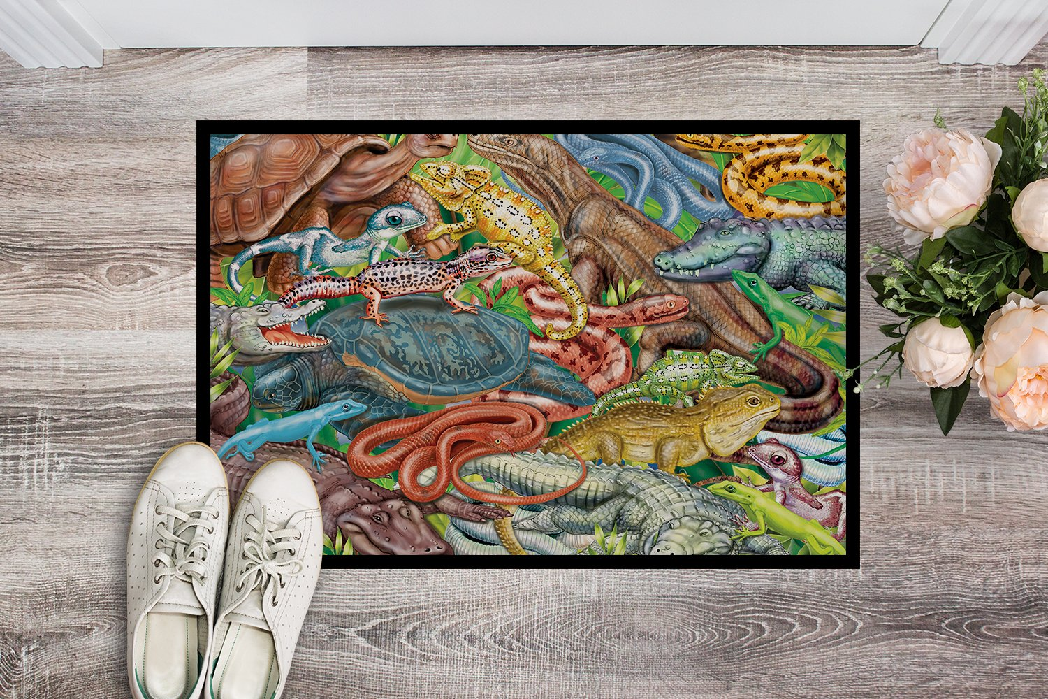 Scales and Tails, Snakes, Turtle, Reptiles Indoor or Outdoor Mat 24x36 PRS4034JMAT by Caroline's Treasures