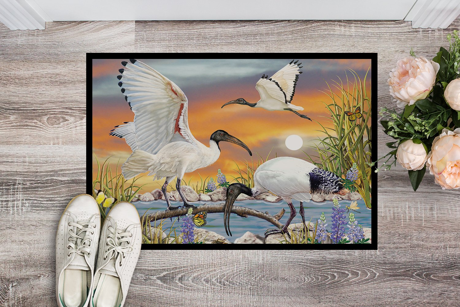 Sacred Ibis Indoor or Outdoor Mat 24x36 PRS4035JMAT by Caroline's Treasures