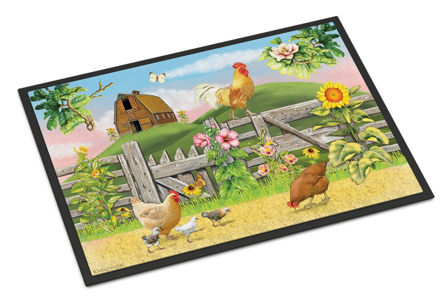 Rooster On Fence Indoor or Outdoor Mat 24x36 PRS4037JMAT by Caroline's Treasures