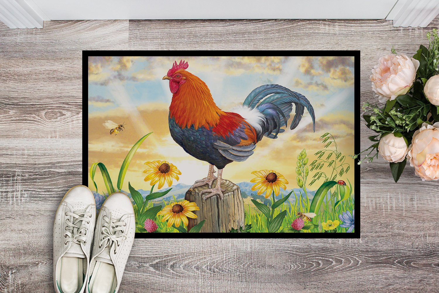 Rooster At Dawn Indoor or Outdoor Mat 24x36 PRS4038JMAT by Caroline's Treasures