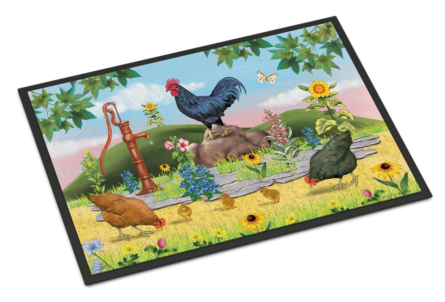 Rooster And Water Pump Indoor or Outdoor Mat 24x36 PRS4039JMAT by Caroline's Treasures