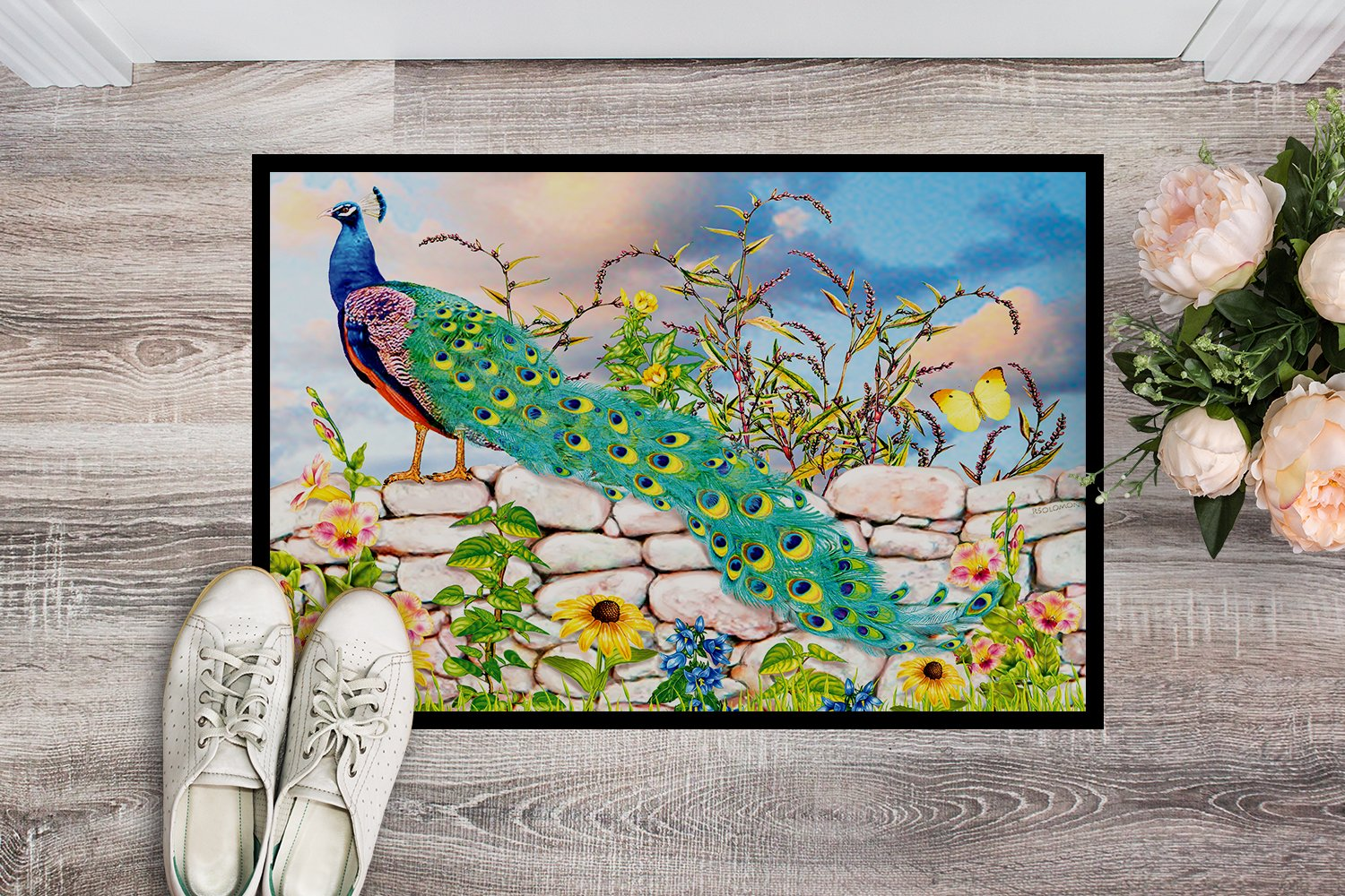 Proud Peacock Indoor or Outdoor Mat 24x36 PRS4040JMAT by Caroline's Treasures