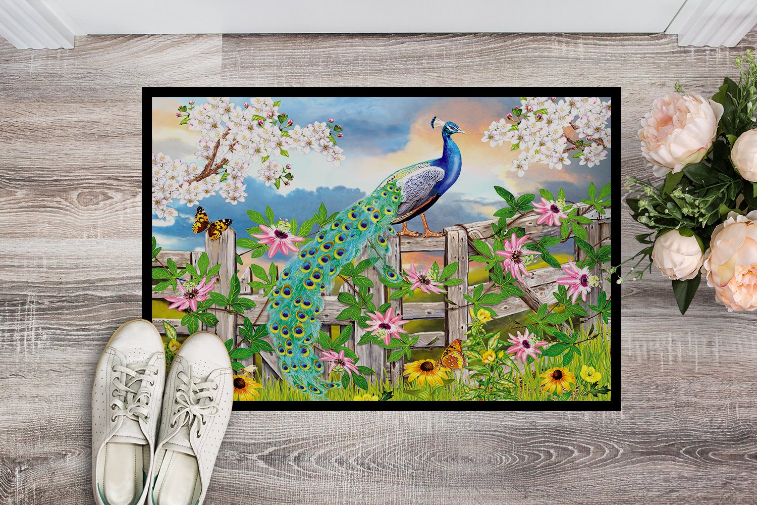 Peacock on Garden Fence Indoor or Outdoor Mat 24x36 PRS4042JMAT by Caroline's Treasures