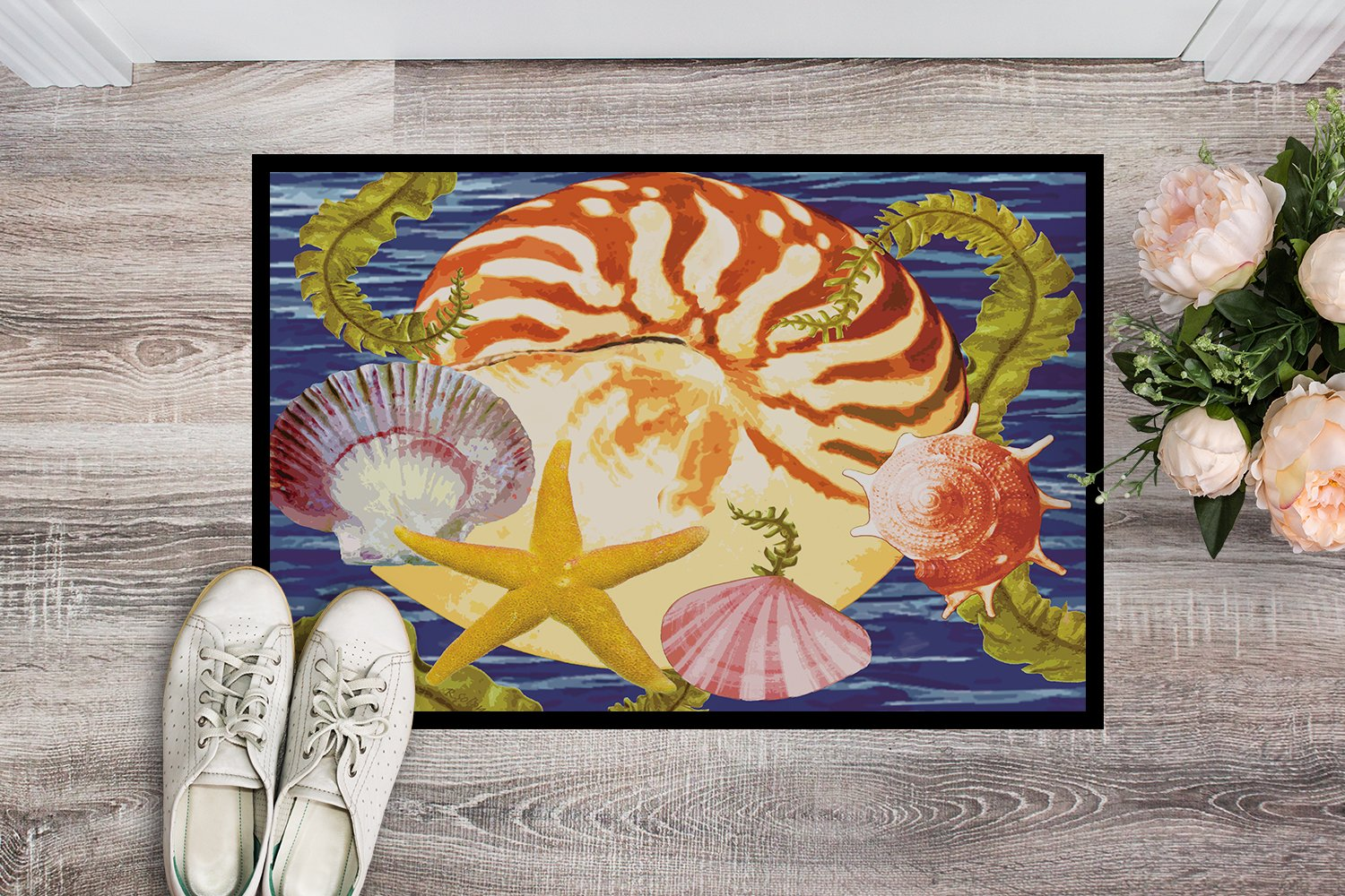 Nautilus And Gulf And Sundial Indoor or Outdoor Mat 24x36 PRS4044JMAT by Caroline's Treasures
