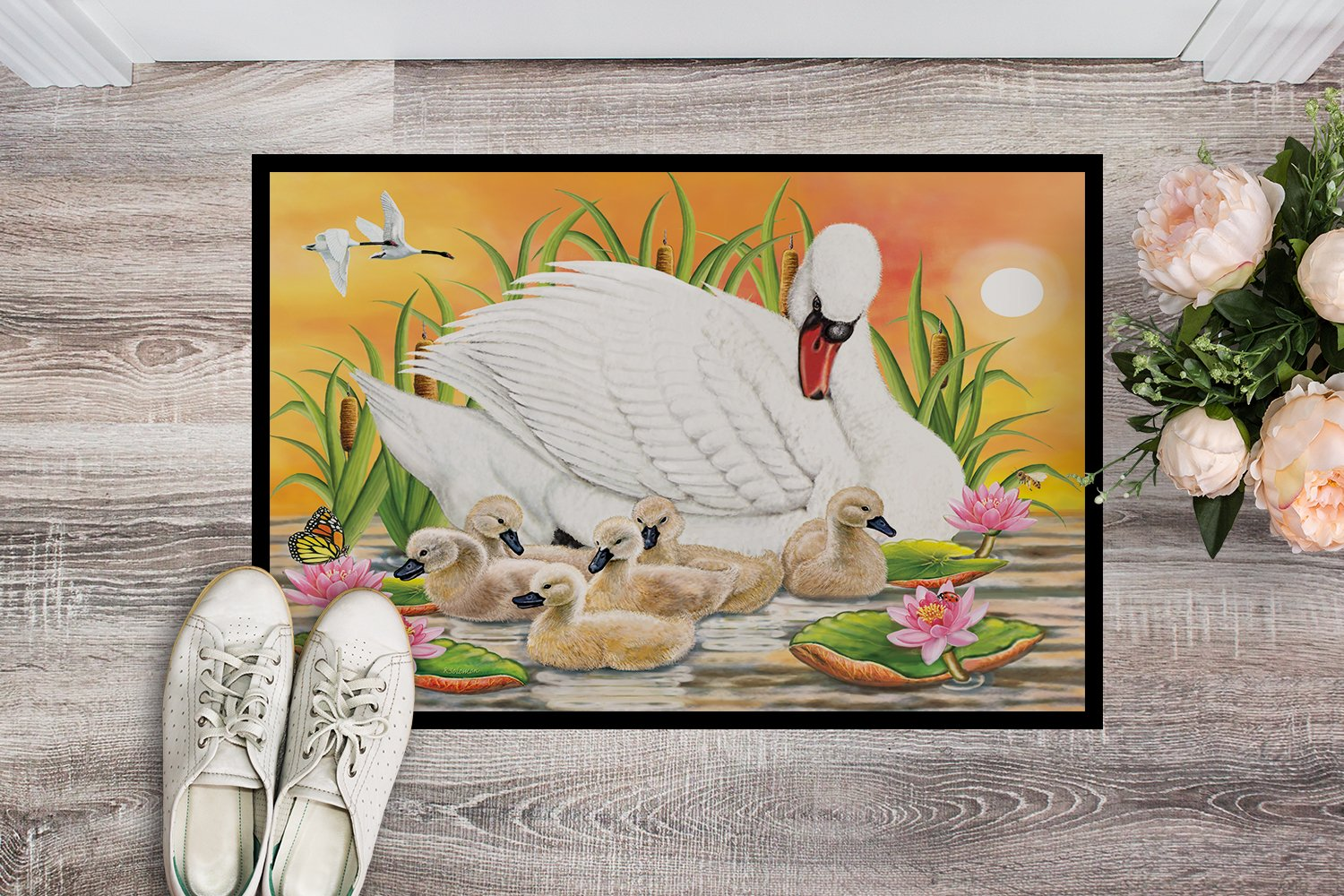 Mother Swan At Sunset Indoor or Outdoor Mat 24x36 PRS4046JMAT by Caroline's Treasures