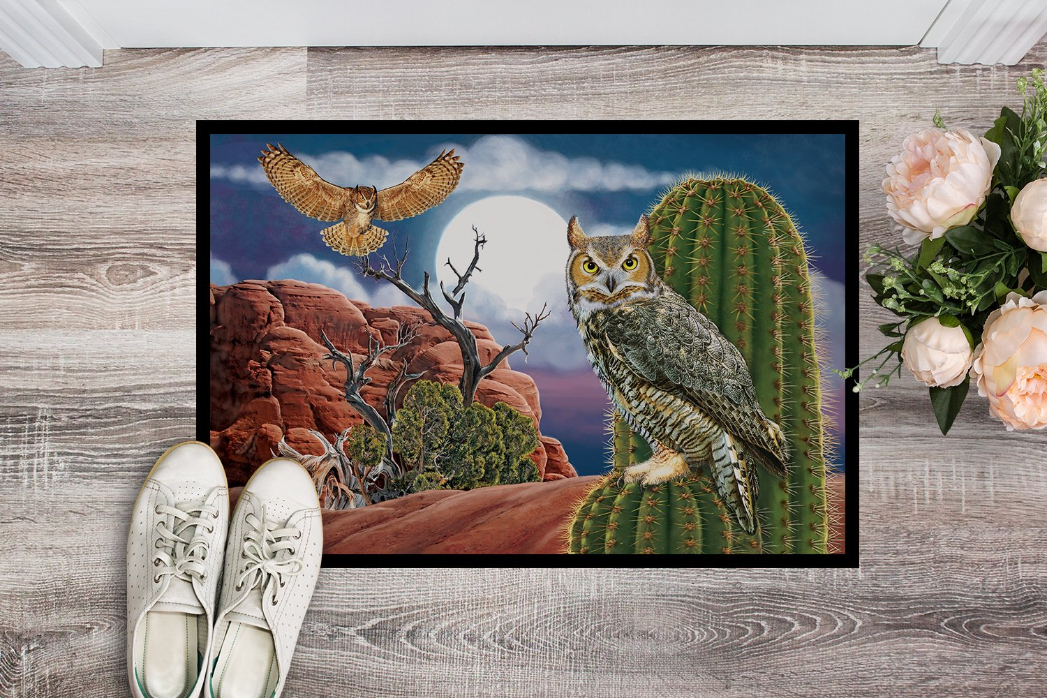 Great Horned Owl In The Desert Indoor or Outdoor Mat 24x36 PRS4052JMAT by Caroline's Treasures