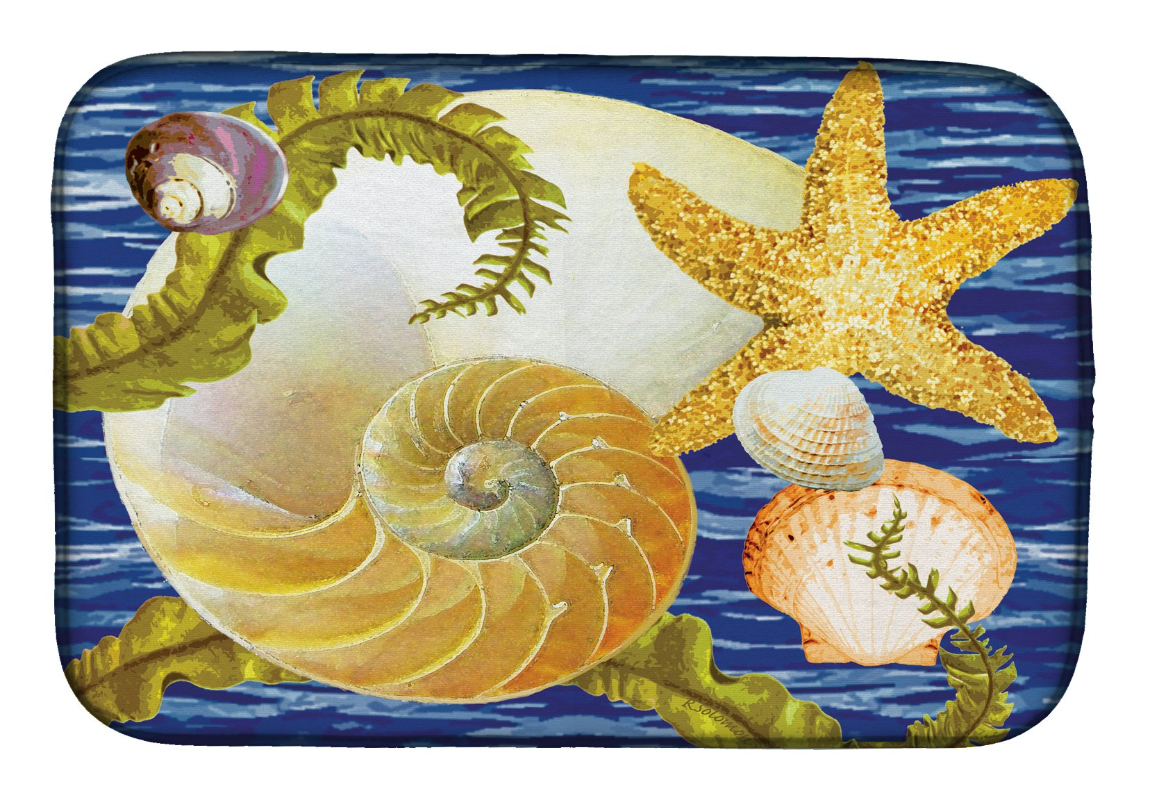 Cut Nautilus And Starfish Dish Drying Mat PRS4056DDM by Caroline's Treasures