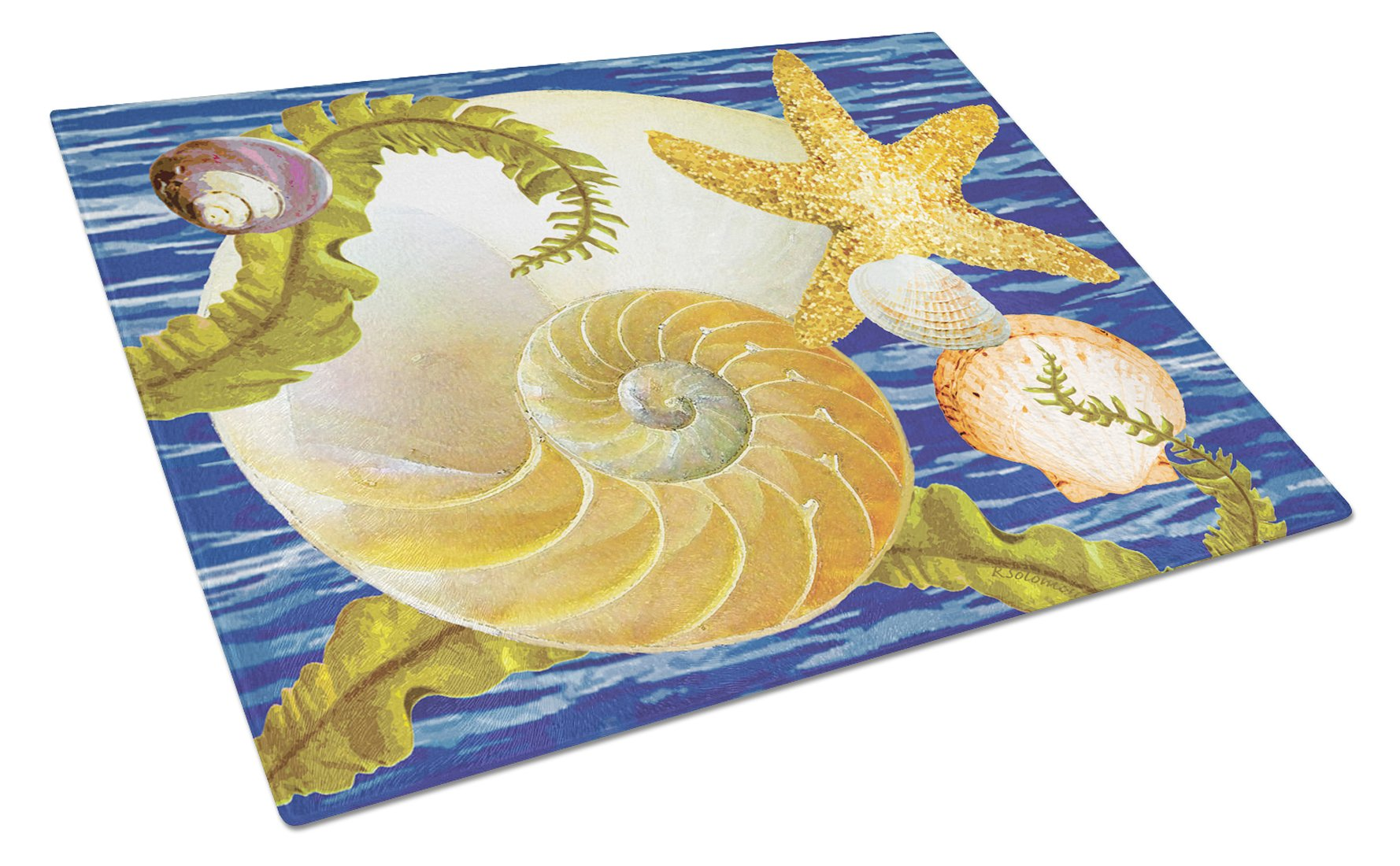 Cut Nautilus And Starfish Glass Cutting Board Large PRS4056LCB by Caroline's Treasures
