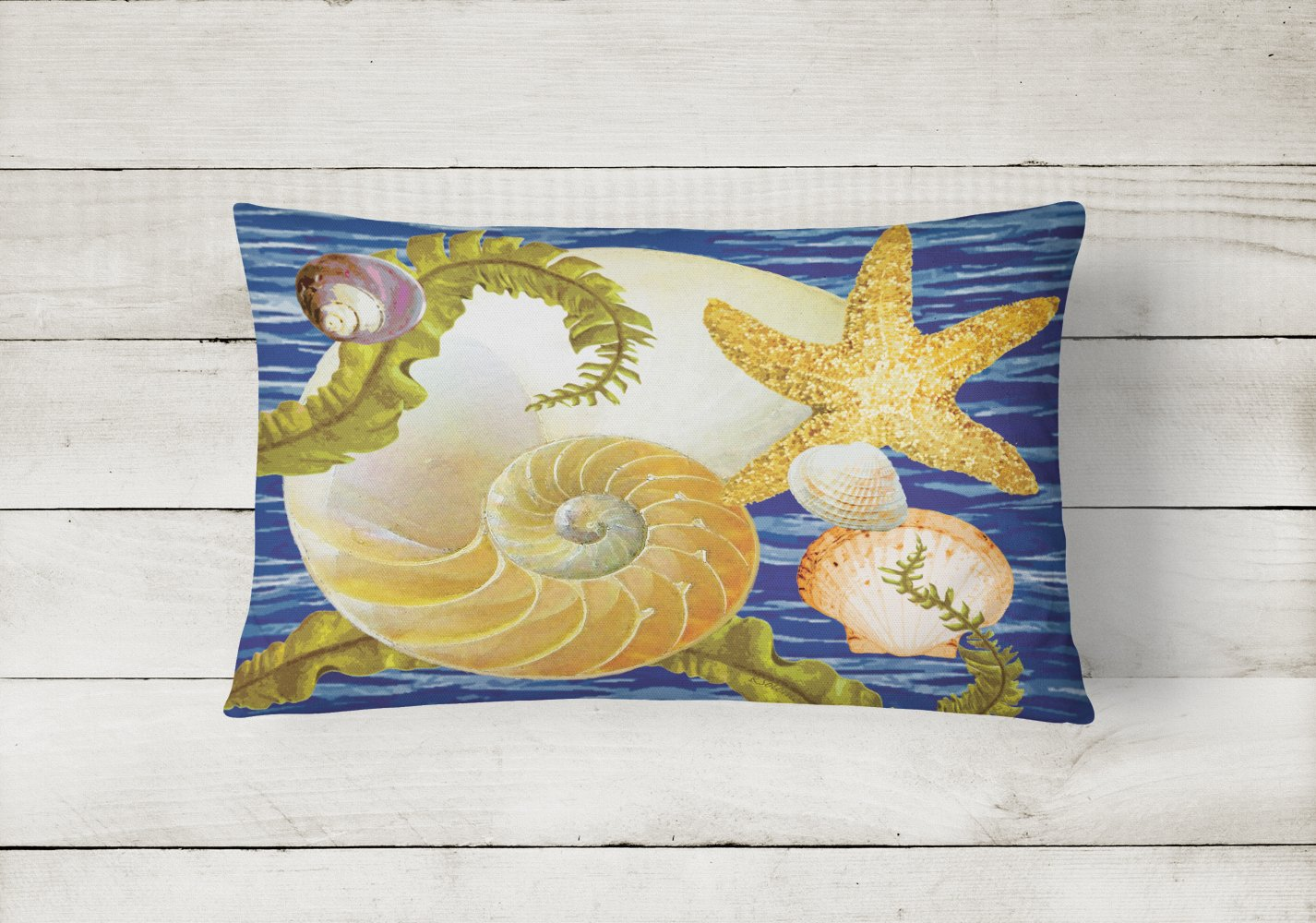 Cut Nautilus And Starfish Canvas Fabric Decorative Pillow PRS4056PW1216 by Caroline's Treasures