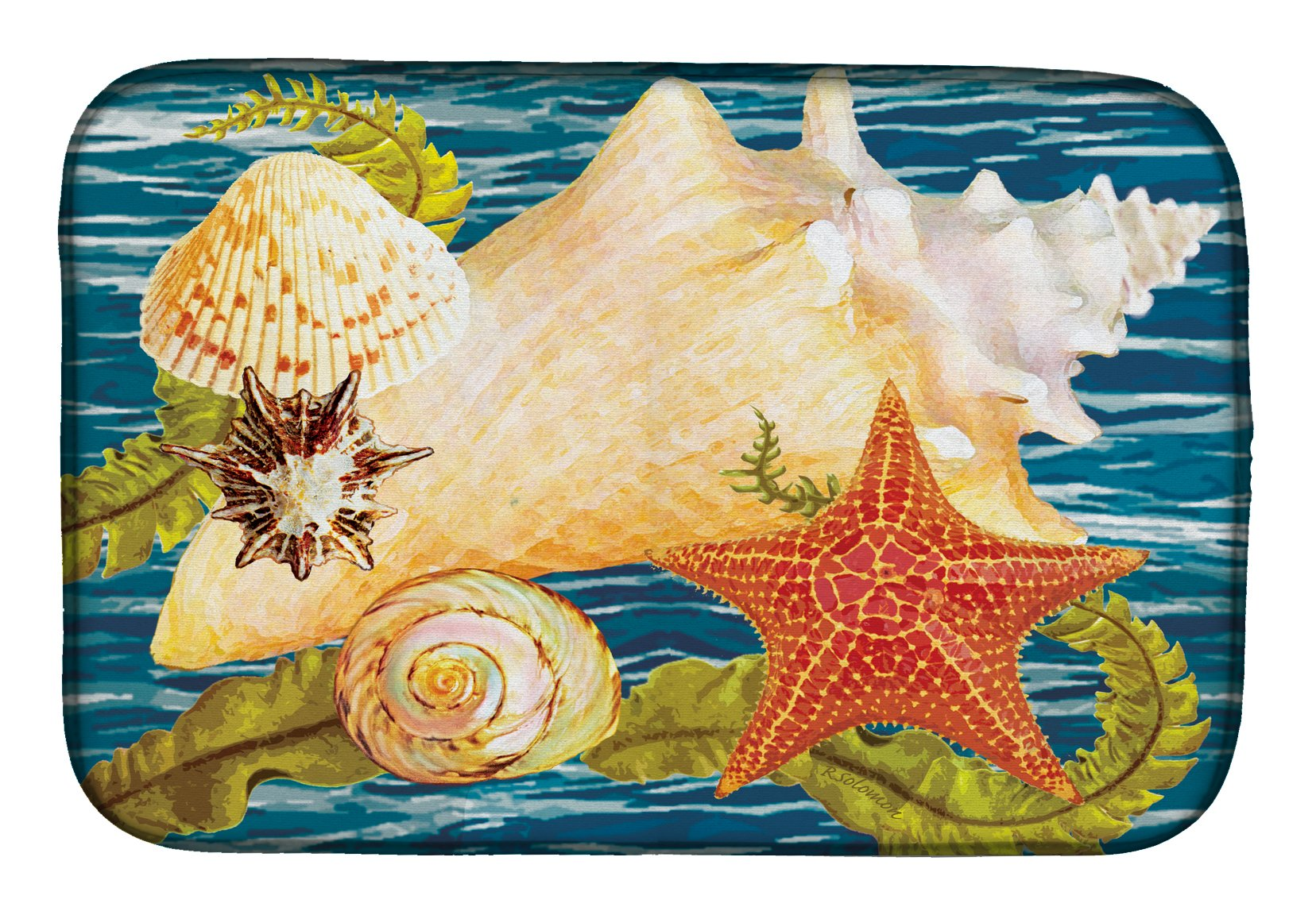 Conch Starfish And Cockle II Dish Drying Mat PRS4057DDM by Caroline's Treasures