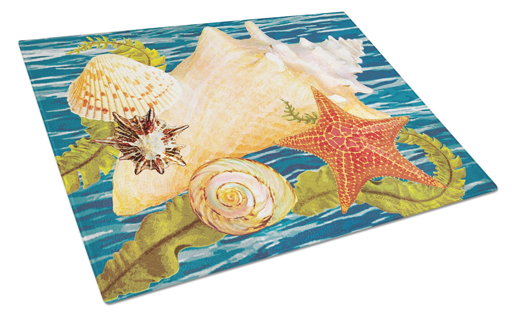 Conch Starfish And Cockle II Glass Cutting Board Large PRS4057LCB by Caroline's Treasures