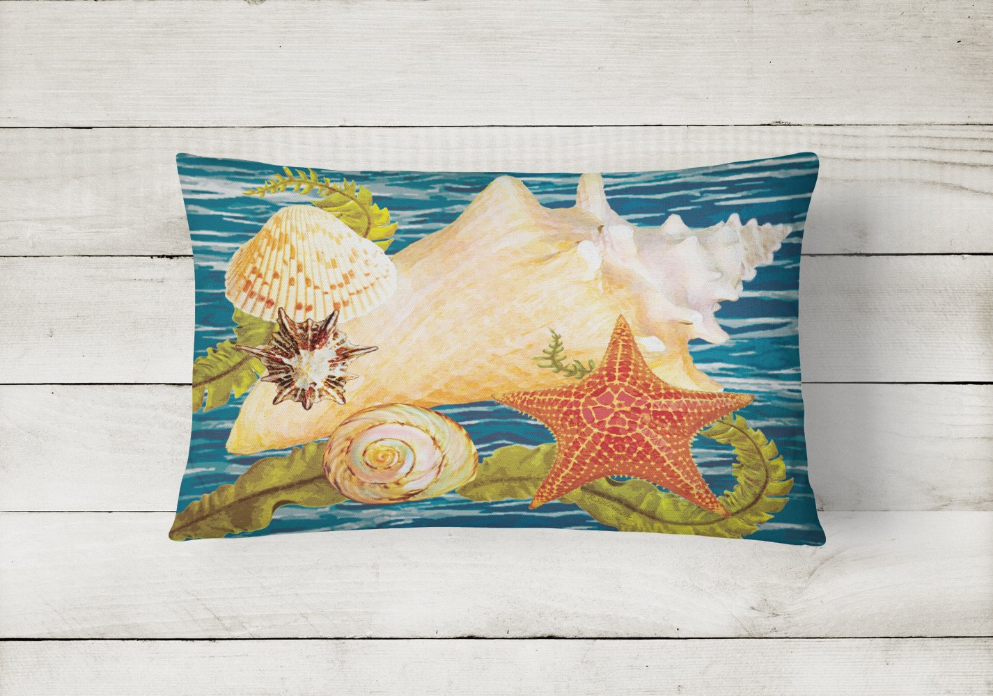 Conch Starfish And Cockle II Canvas Fabric Decorative Pillow PRS4057PW1216 by Caroline's Treasures