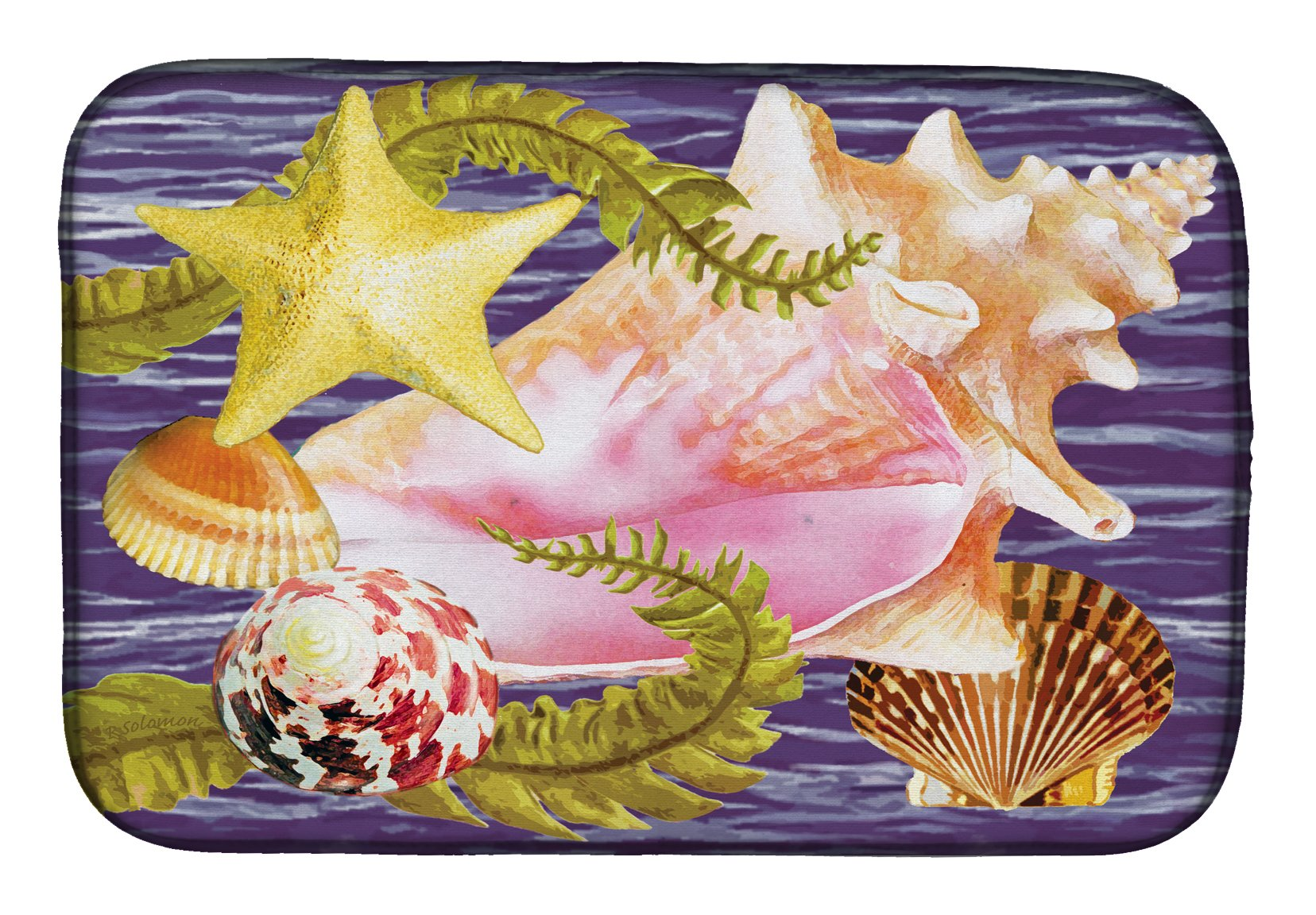 Conch And Starfish Dish Drying Mat PRS4058DDM by Caroline's Treasures