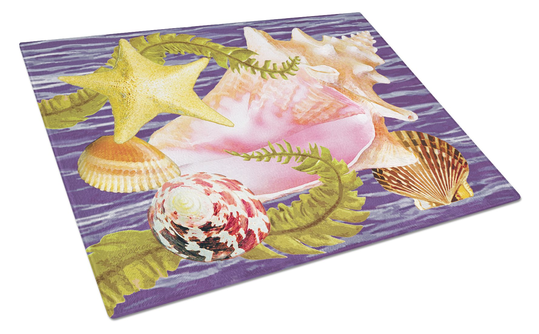 Conch And Starfish Glass Cutting Board Large PRS4058LCB by Caroline's Treasures