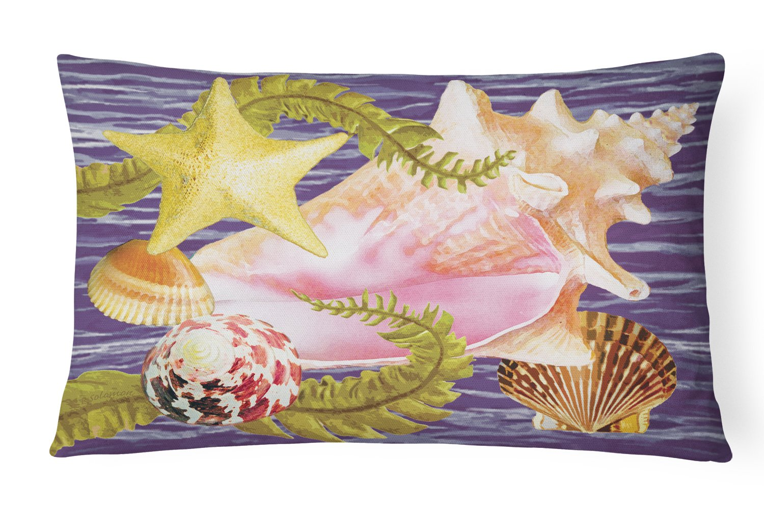 Conch And Starfish Canvas Fabric Decorative Pillow PRS4058PW1216 by Caroline's Treasures