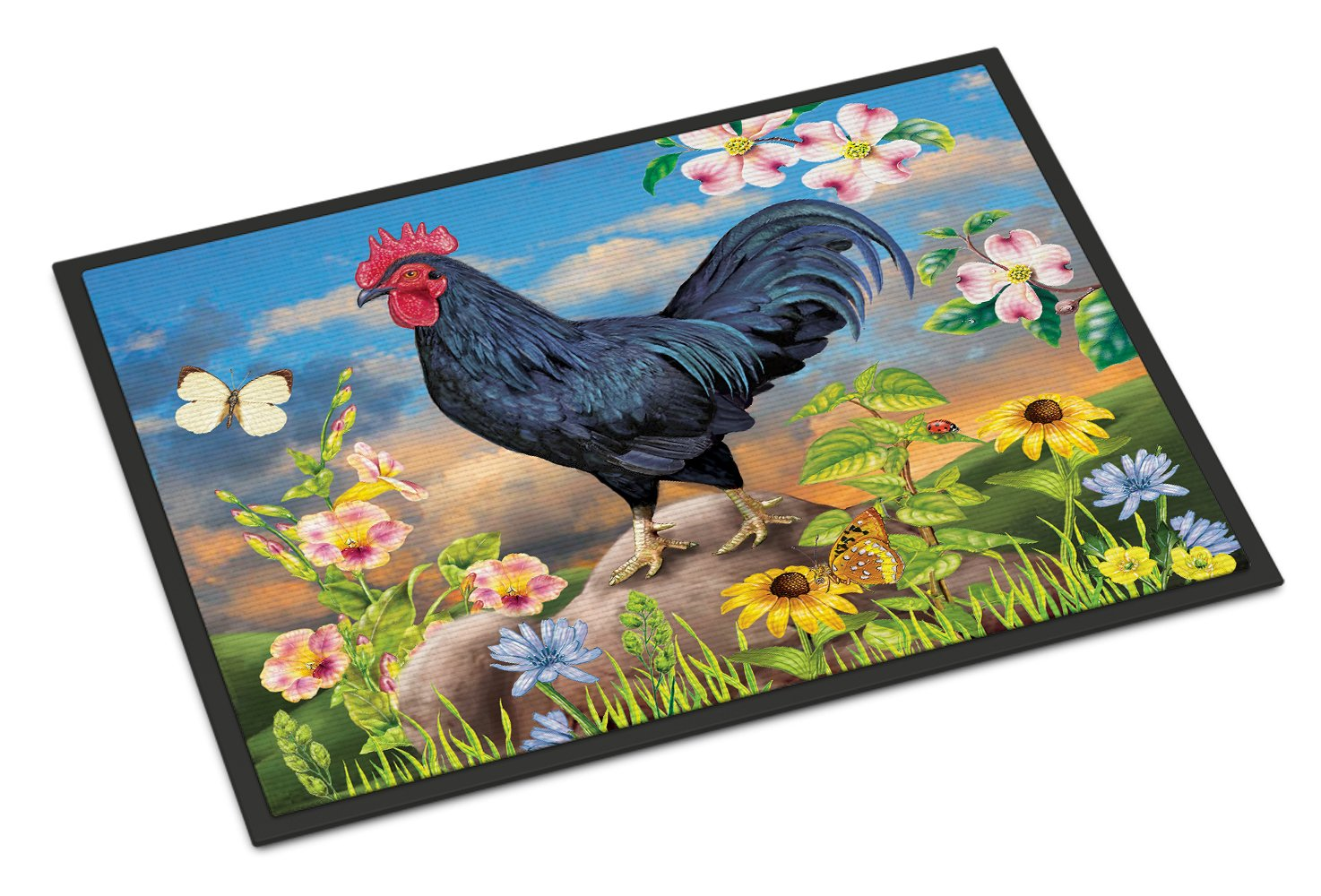 Black Rooster Indoor or Outdoor Mat 24x36 PRS4060JMAT by Caroline's Treasures
