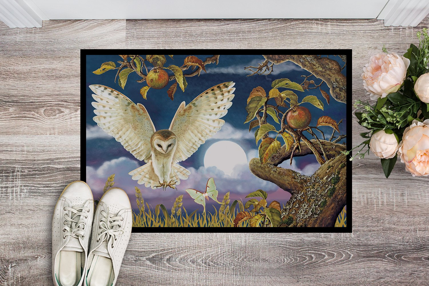 Barn Owl In The Apple Orchard Indoor or Outdoor Mat 24x36 PRS4062JMAT by Caroline's Treasures