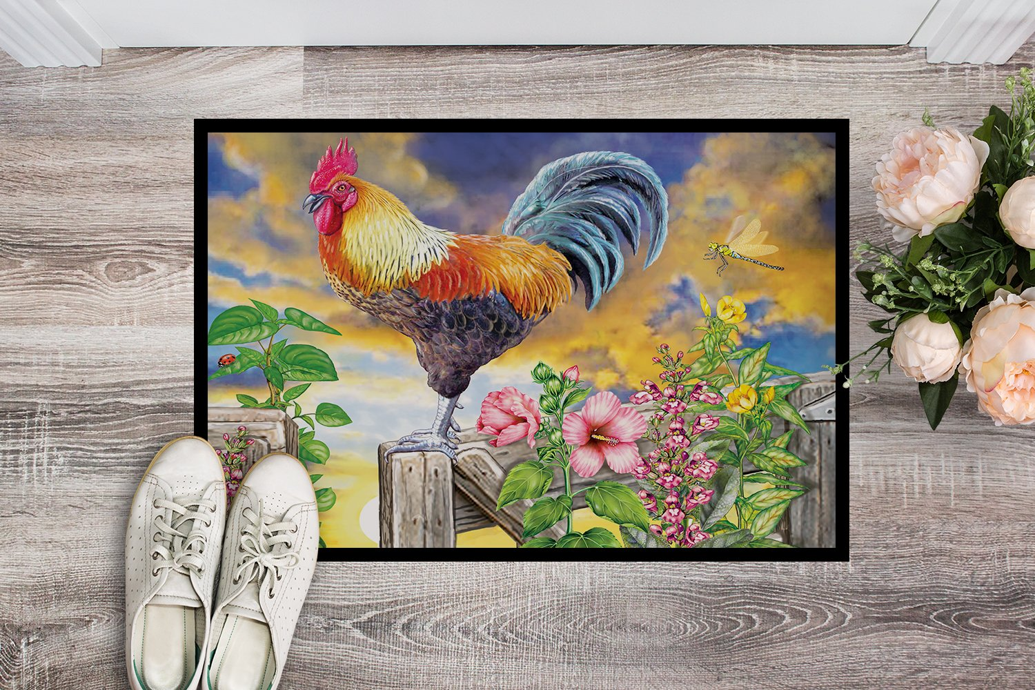 Rooster Barnyard Morning Indoor or Outdoor Mat 24x36 PRS4063JMAT by Caroline's Treasures
