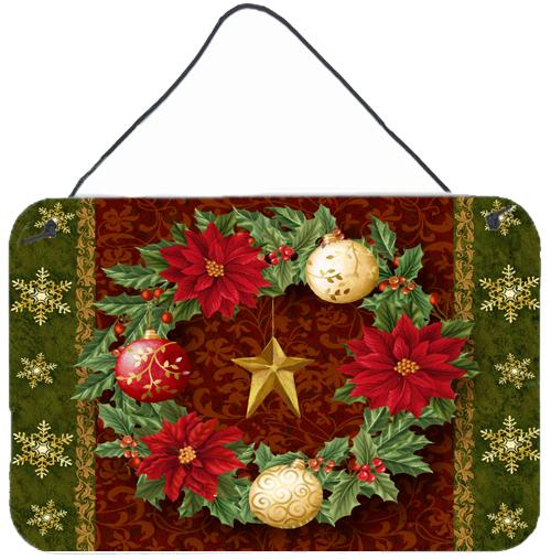 Holly Wreath with Christmas Ornaments Wall or Door Hanging Prints by Caroline's Treasures