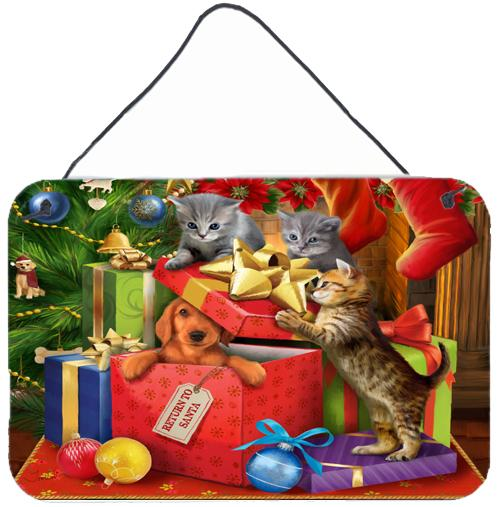 Kittens Return Puppy to Santa Claus Wall or Door Hanging Prints by Caroline's Treasures