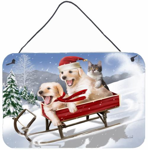 Dogs and Kitten in Sled Need for Speed Wall or Door Hanging Prints PTW2015DS812 by Caroline's Treasures