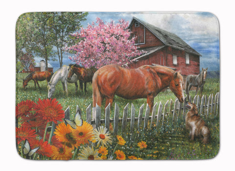 Buy this Horses Chatting with The Neighbors Machine Washable Memory Foam Mat PTW2020RUG