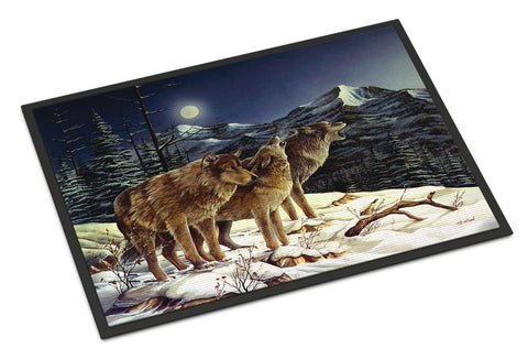 Buy this Wolf Wolves Crying at The Moon Indoor or Outdoor Mat 18x27 PTW2041MAT
