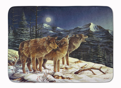 Buy this Wolf Wolves Crying at The Moon Machine Washable Memory Foam Mat PTW2041RUG