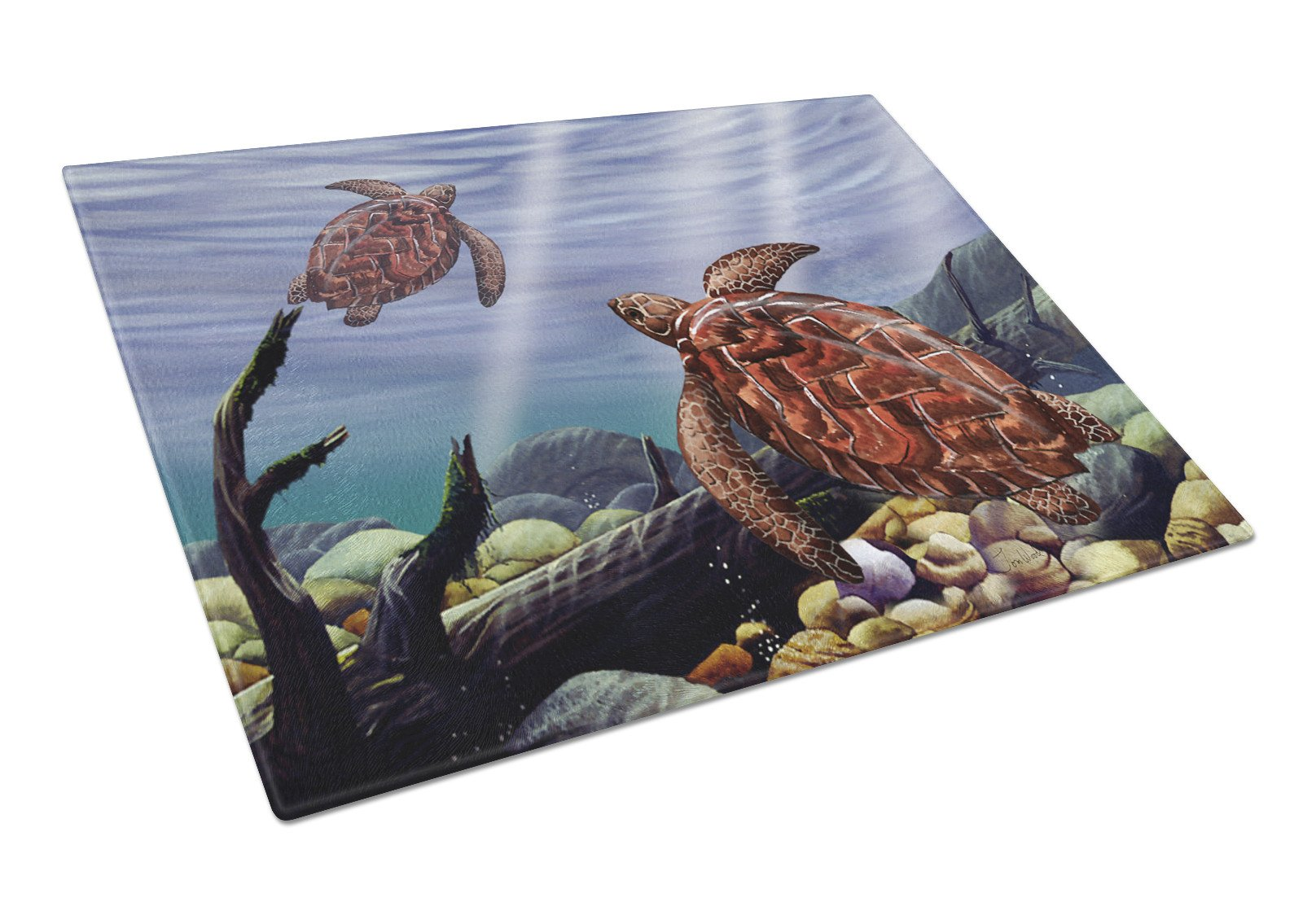 Sea Turtles Glass Cutting Board Large PTW2042LCB by Caroline's Treasures