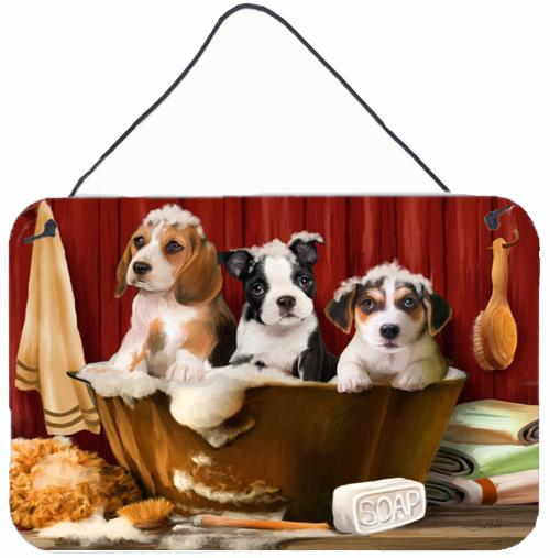Beagle, Boston Terrier and Jack Russel in the Tub Wall or Door Hanging Prints PTW2047DS812 by Caroline's Treasures