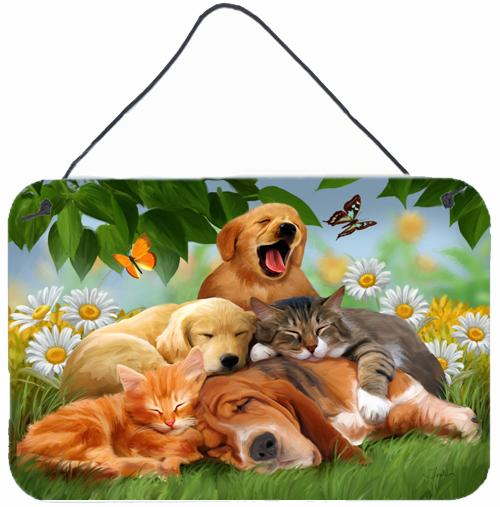 Golden Retriever, Labrador and Basset Hound Sleepy Heads Wall or Door Hanging Prints PTW2049DS812 by Caroline's Treasures