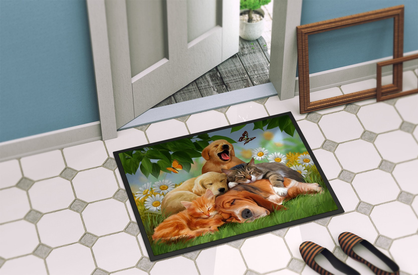 Golden Retriever, Labrador and Basset Hound Sleepy Heads Indoor or Outdoor Mat 24x36 PTW2049JMAT - the-store.com