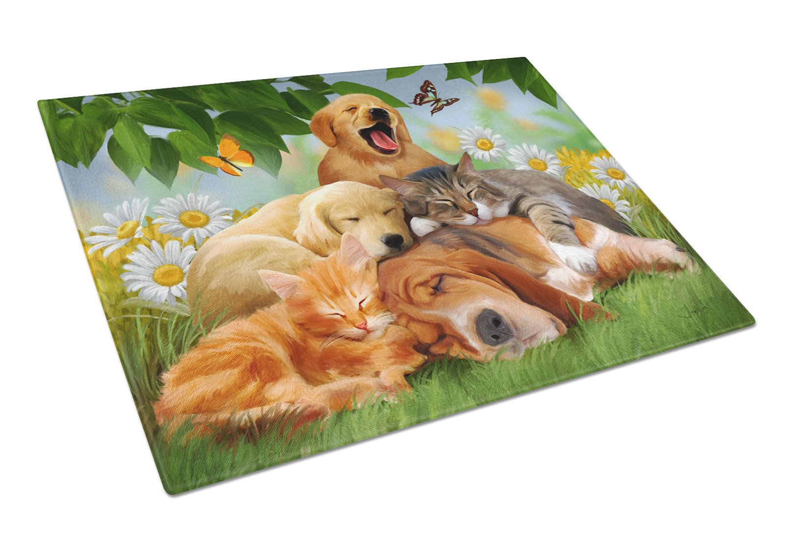 Golden Retriever, Labrador and Basset Hound Sleepy Heads Glass Cutting Board Large PTW2049LCB by Caroline's Treasures