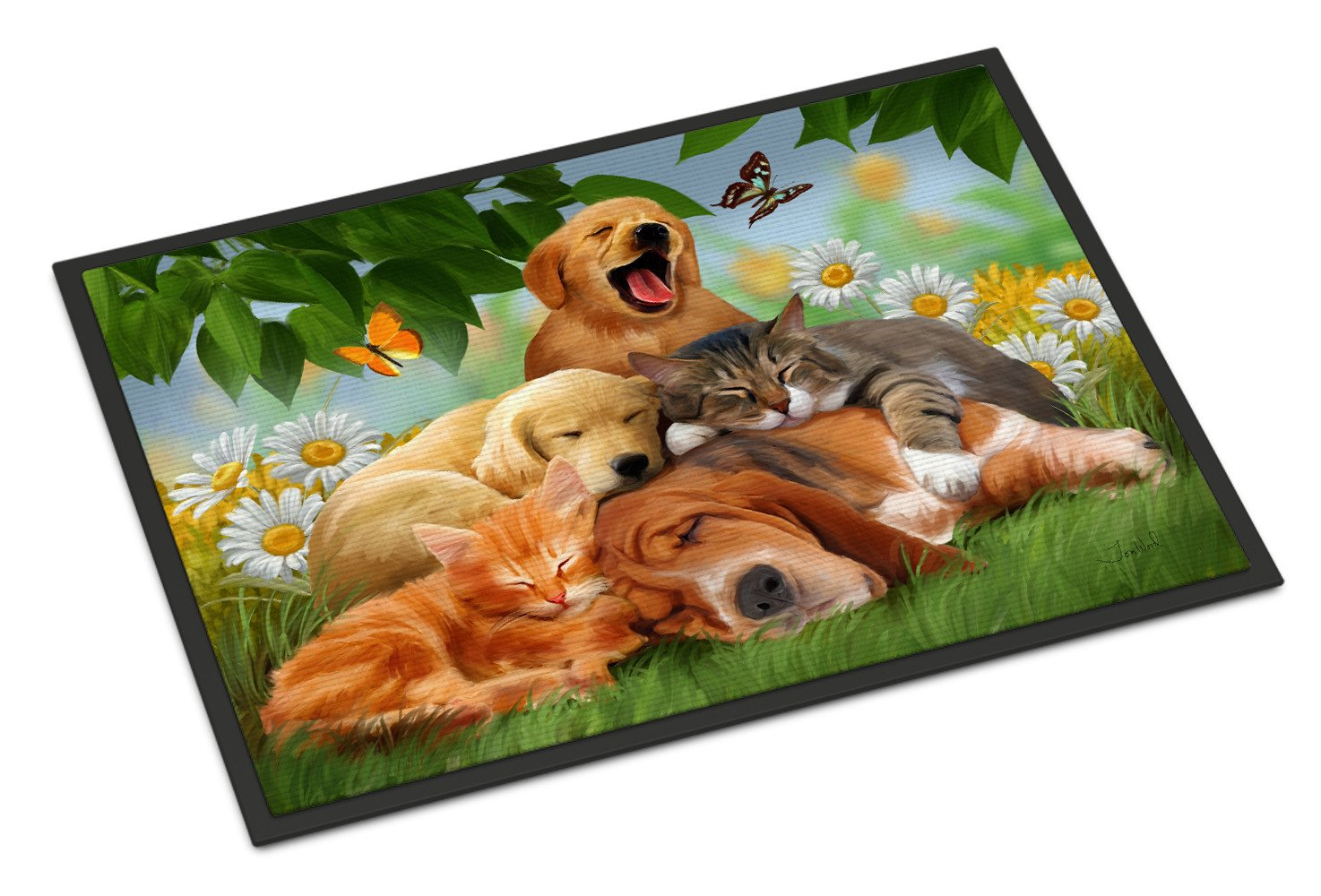 Golden Retriever, Labrador and Basset Hound Sleepy Heads Indoor or Outdoor Mat 18x27 PTW2049MAT - the-store.com