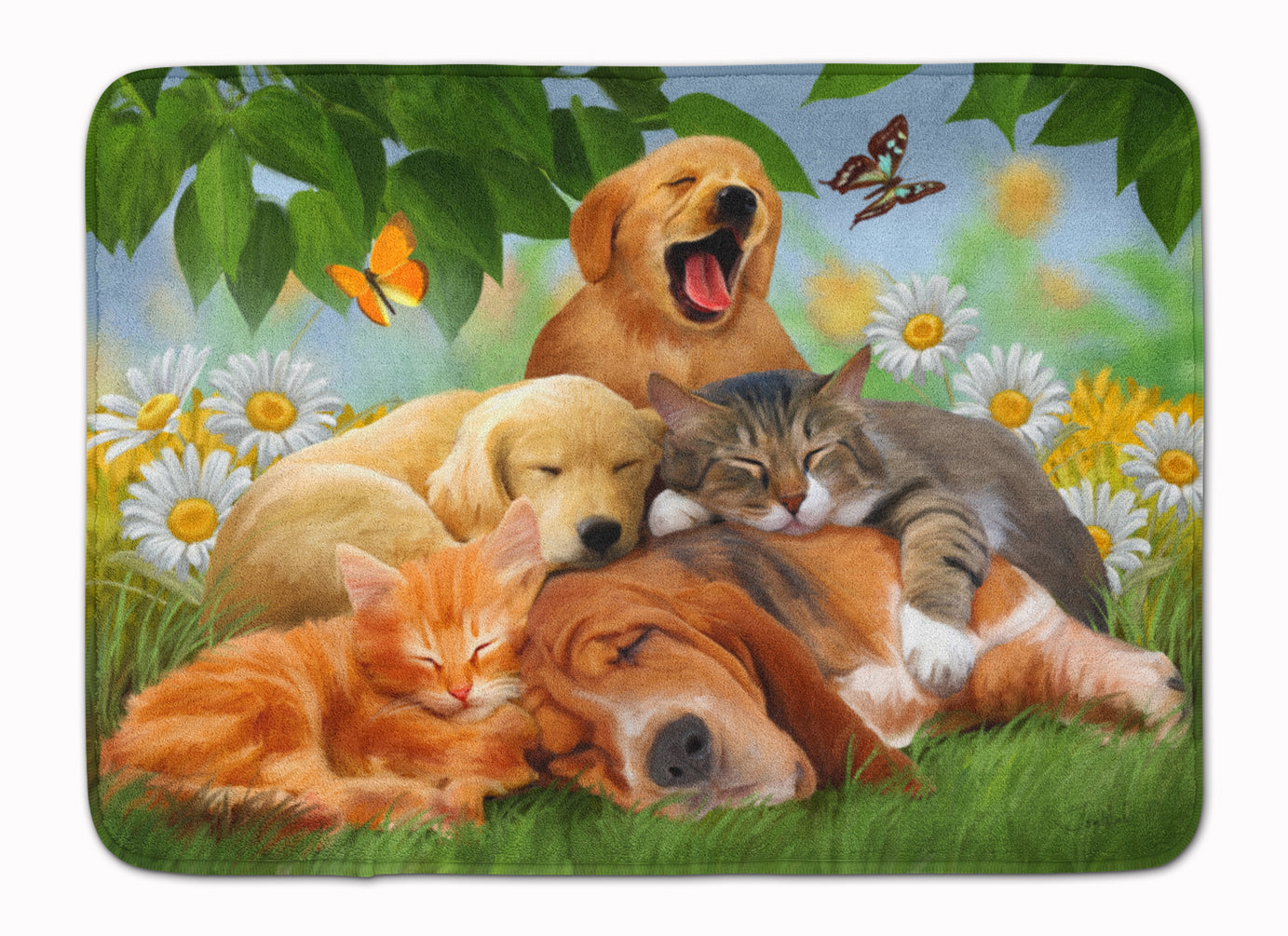 Golden Retriever, Labrador and Basset Hound Sleepy Heads Machine Washable Memory Foam Mat PTW2049RUG by Caroline's Treasures