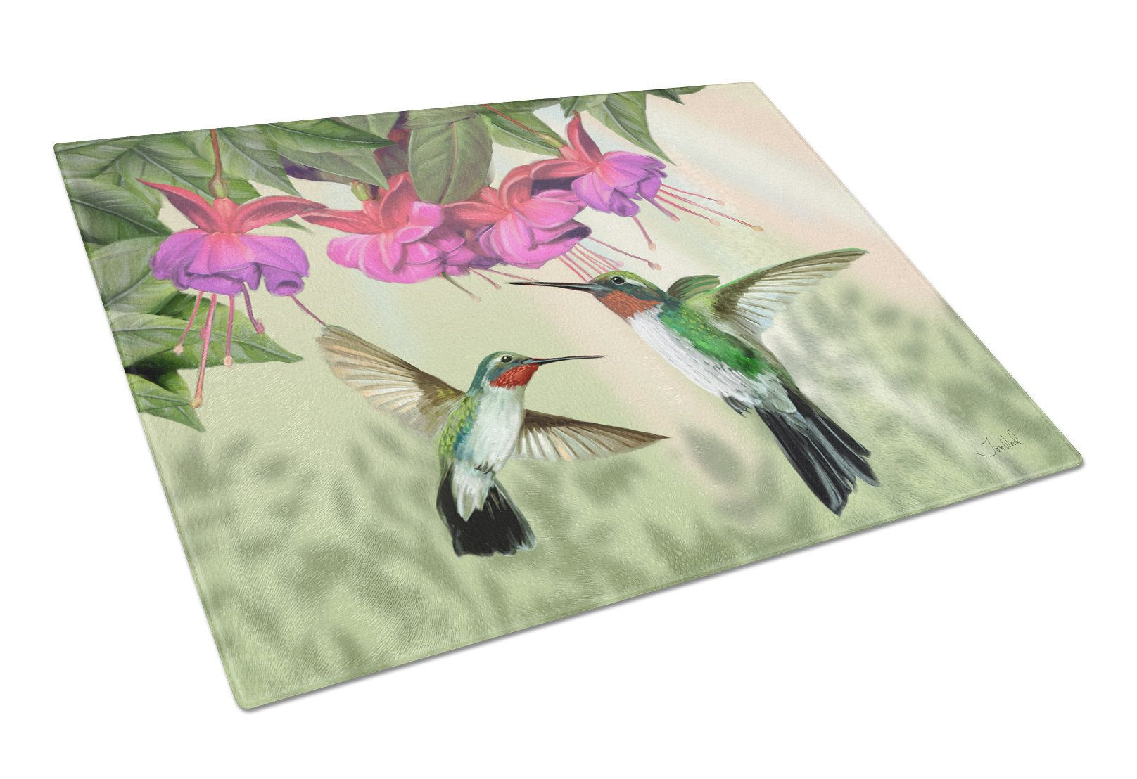 Buy this Fuchsia and Hummingbirds Glass Cutting Board Large PTW2051LCB