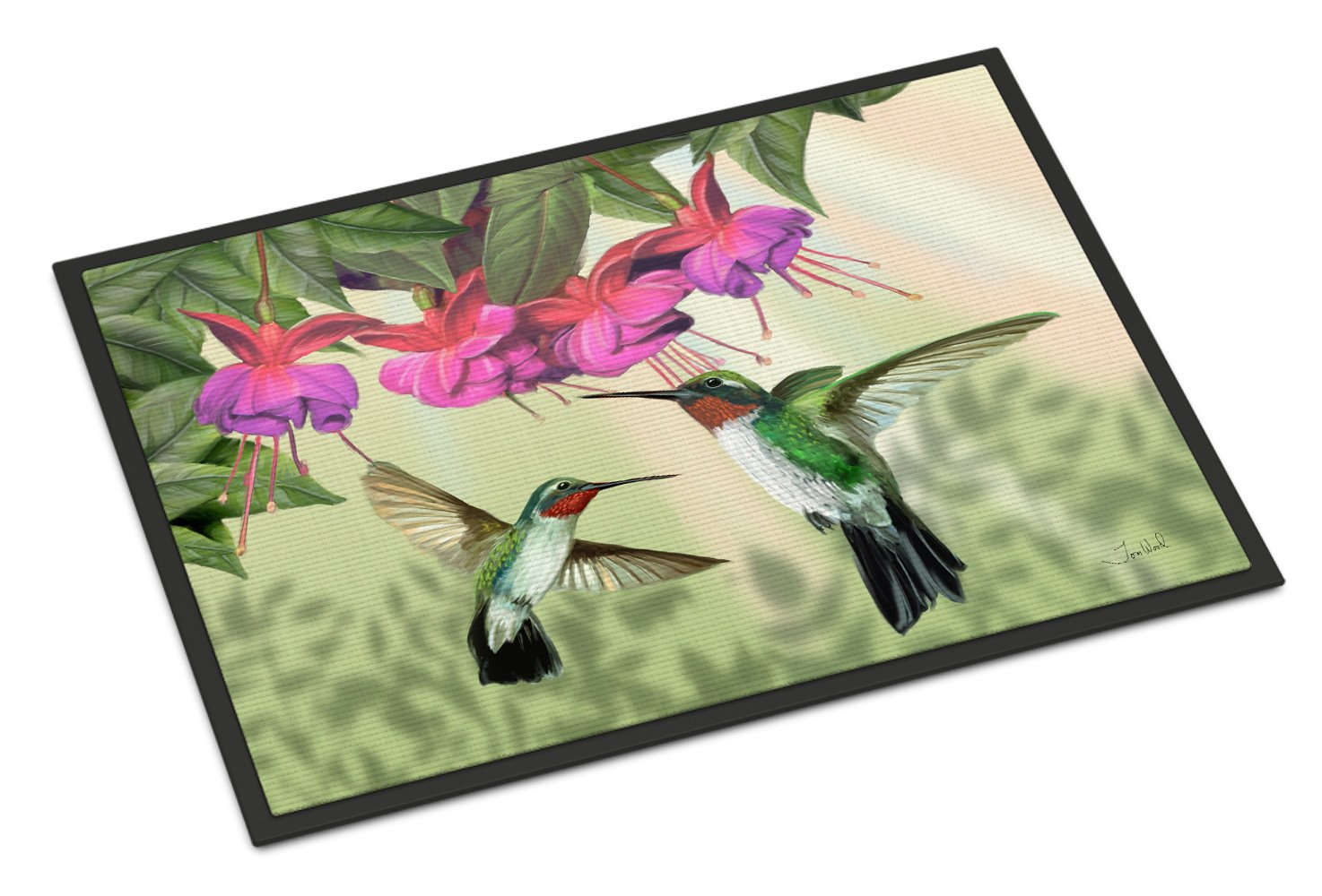 Fuchsia and Hummingbirds Indoor or Outdoor Mat 18x27 PTW2051MAT by Caroline's Treasures