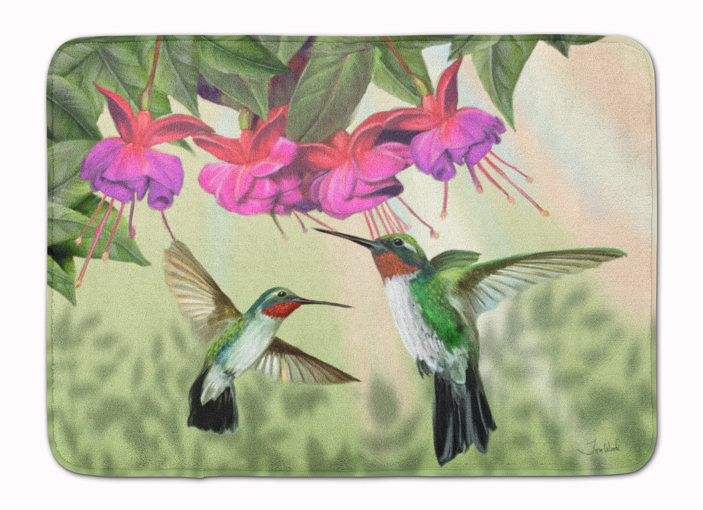 Fuchsia and Hummingbirds Machine Washable Memory Foam Mat PTW2051RUG by Caroline's Treasures