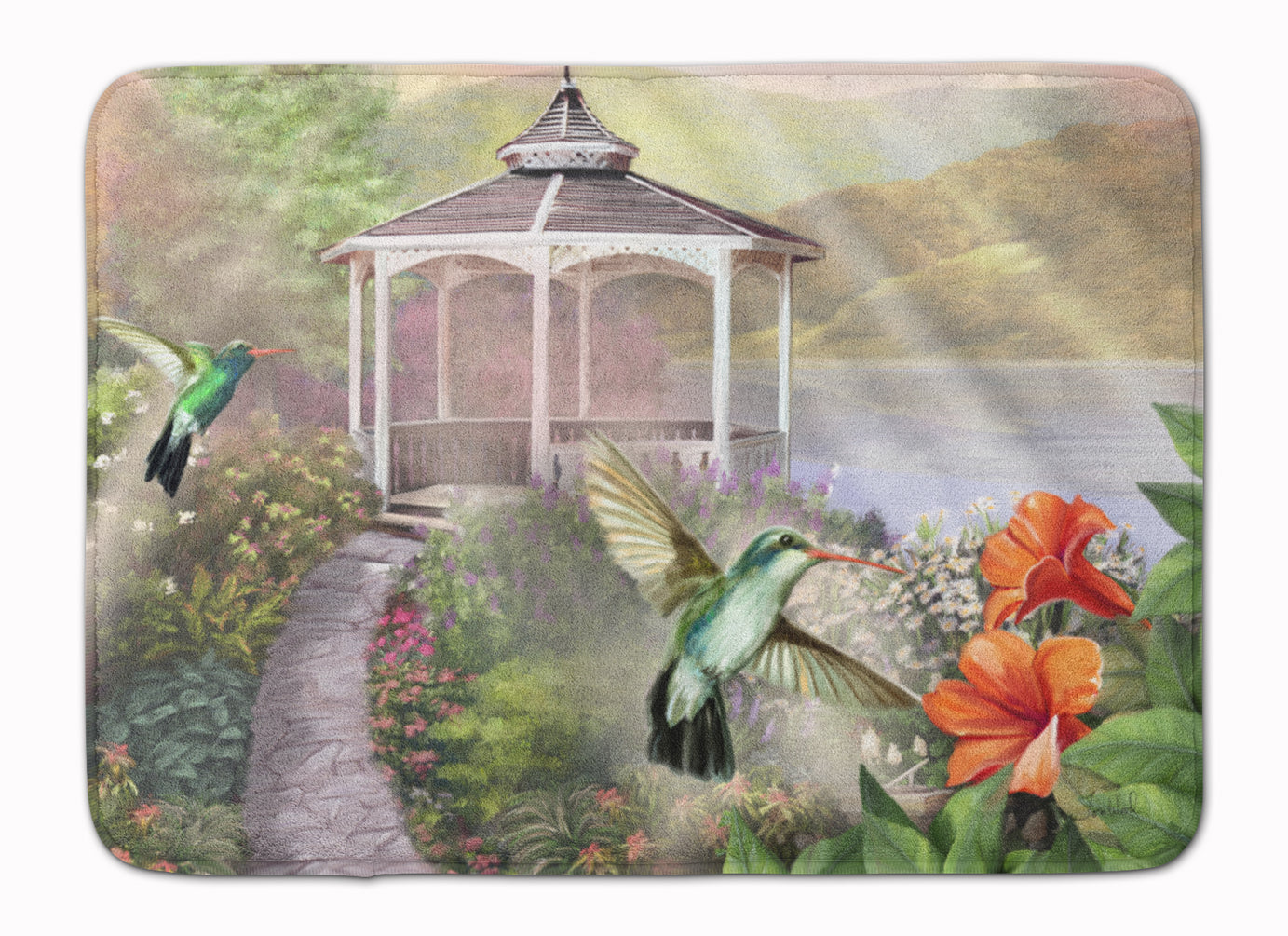 Garden Gazebo Hummingbird Duo Machine Washable Memory Foam Mat PTW2053RUG by Caroline's Treasures