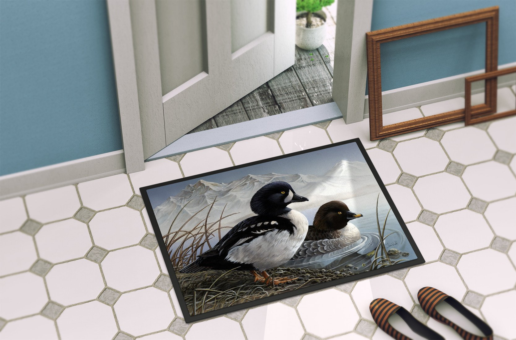 Goldeneye Ducks in the Water Indoor or Outdoor Mat 24x36 PTW2056JMAT - the-store.com