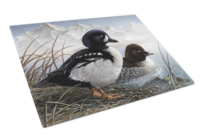 Goldeneye Ducks in the Water Glass Cutting Board Large PTW2056LCB by Caroline's Treasures