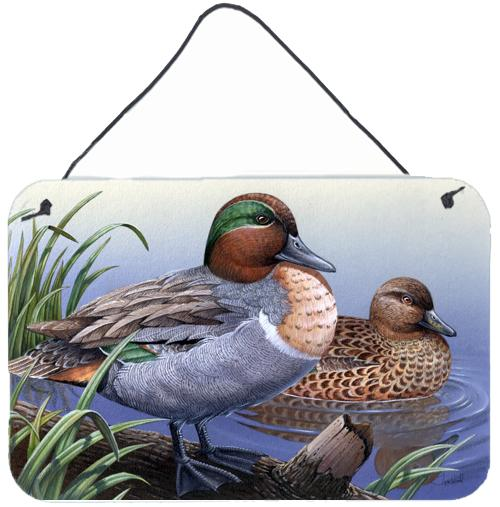 Green Teal Ducks in the Water Wall or Door Hanging Prints PTW2057DS812 by Caroline's Treasures
